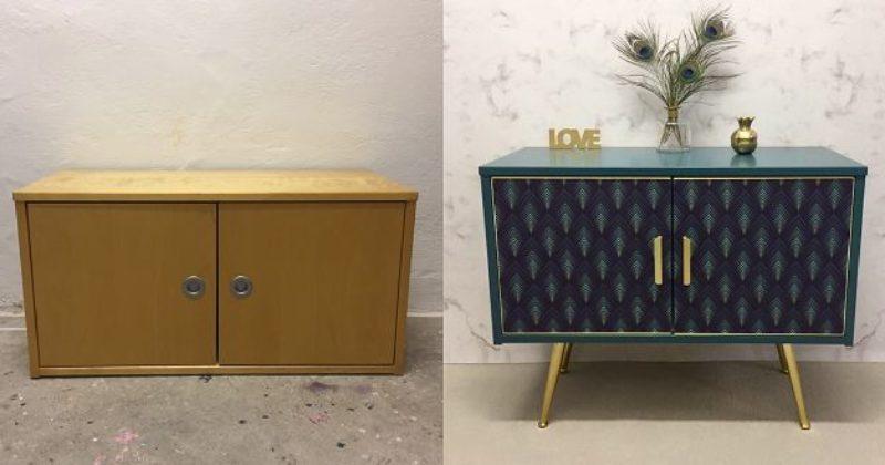Anni's-ArtandLiving-Sideboard-Pfau-Vorher-Nachher-Vintage-Möbel-Upcycling-Wien