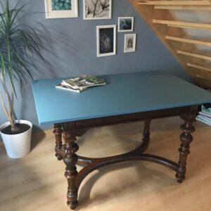 Antike-Tisch-Blau-Holz-Wachslasur