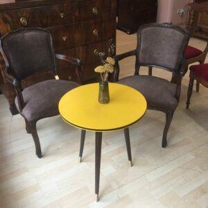 Vintage-Designtisch-Gelb-Braun-Holz-Drahtverzierung-Upcycling